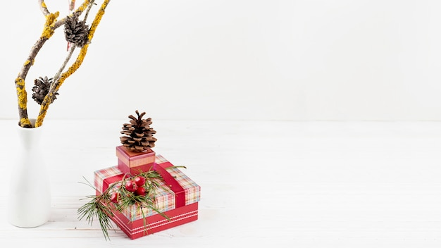 Christmas presents with pine cones
