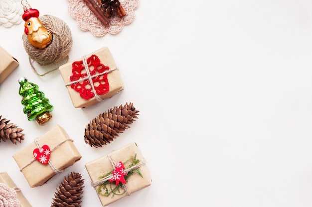 Christmas presents wrapped in craft paper and christmas decorations
