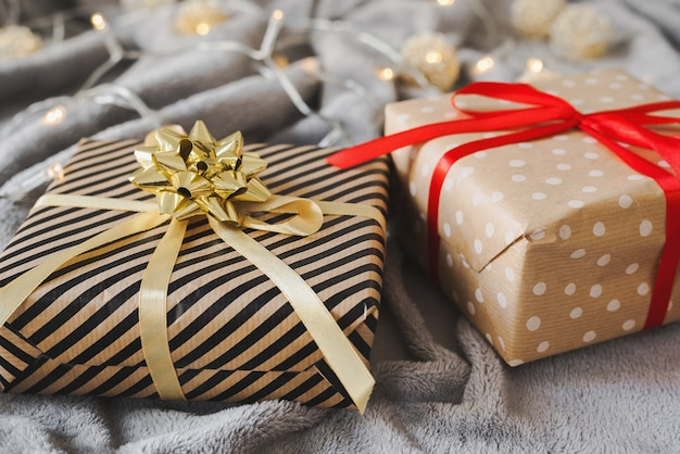Christmas presents wrapped in kraft paper