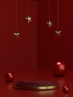 バナーやプロモーション用のクリスマス製品の表彰台または台座。 3dイラストレーション