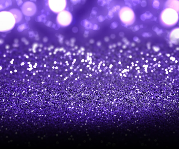 Christmas  of purple glitter and bokeh lights
