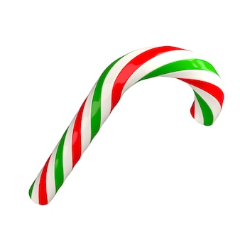 Christmas red green white twisted candy cane caramel3d