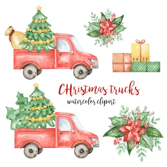 Christmas red trucks clipart, presents, poinsettia illustration, new year set, red car clipart