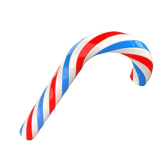 Christmas red white blue twisted candy cane caramel 3d