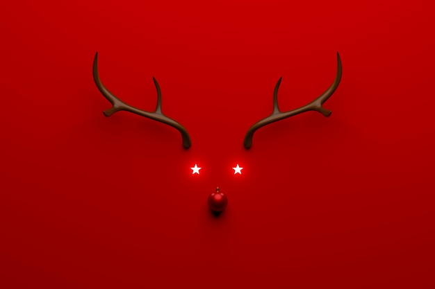 Christmas reindeer concept made of wooden and red bauble decoration