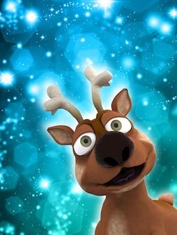 Рождественский олень на фоне блестящих огней