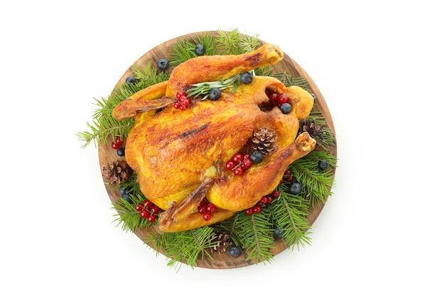 Christmas roast turkey isolated on white background
