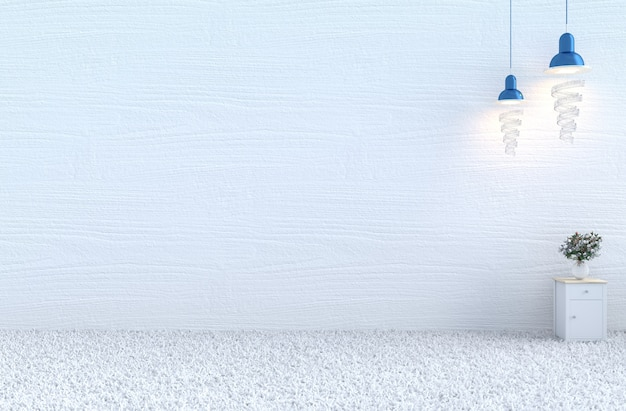 Christmas's day&new year.white room with white wood wall,bedside table,carpet,white rose.