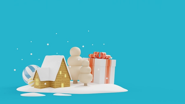 Christmas's day wall with house on snow field.