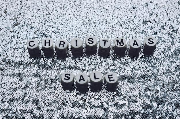 クリスマスセールブラックフライデーシルバーメタリック背景テキストお祝いキラキラ光沢のあるクリスマスセール
