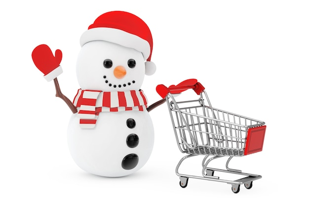 Christmas sale concept. snowman in santa claus hat driven by a shopping cart on a white background. 3d rendering