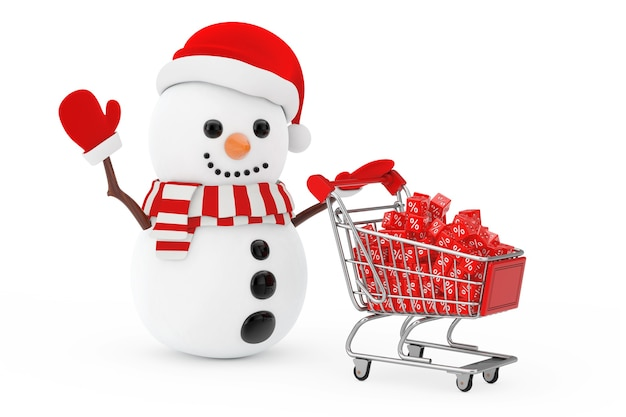 Christmas sale concept. snowman in santa claus hat driven by a shopping cart with red discount cubes on a white background. 3d rendering