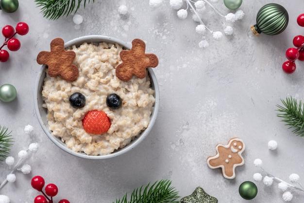 Christmas santa deer oatmeal porridge for kids breakfast