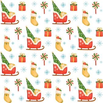 Christmas santa sleigh, tree, gifts seamless pattern