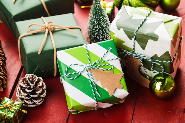 Christmas scene with gift boxes