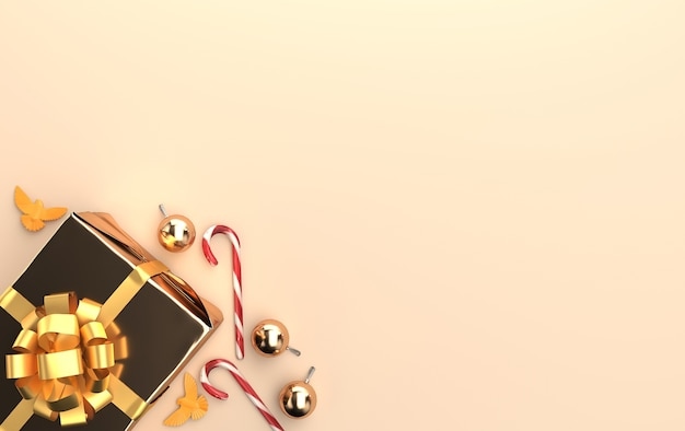 골드 톤의 선물과 반짝이는 유리 공 크리스마스 장면