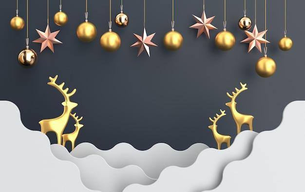 Рождественская сцена с золотым оленем и стеклянными игрушками