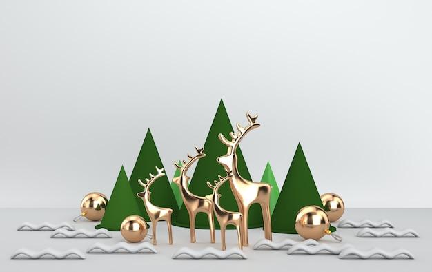 나무 선물 및 반짝이 유리 공 및 장난감 크리스마스 장면