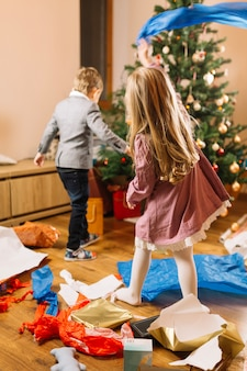 Christmas scene with young kids