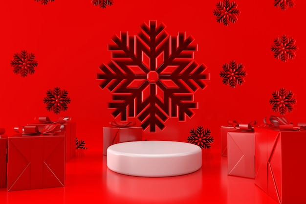 Christmas scenes with gift box and podium display stand 3d render