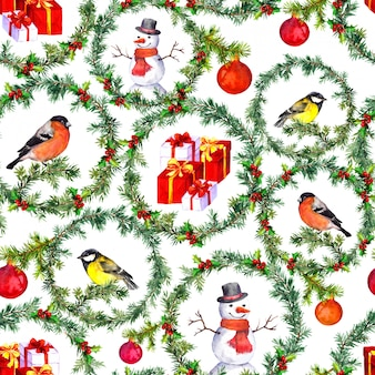 Christmas seamless background, watercolor