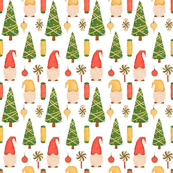 Christmas seamless pattern, cartoon cute gnomes, lollipops, christmas tree