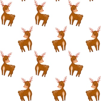 Christmas seamless pattern, forest deer cartoon digital paper, wild animals background, minimalist