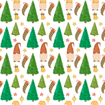 Christmas seamless pattern, hand drawn cartoon gnomes, christmas trees, funny new year background
