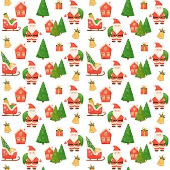 クリスマスのシームレスなパターン、手描きのサンタクロース、プレゼント、クリスマスツリー、包装紙