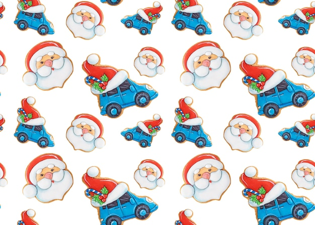 흰색 바탕에 진저 쿠키의 크리스마스 완벽 한 패턴입니다. 축제 장식