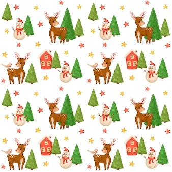 Christmas seamless pattern, snowman, deer digital paper, baby, kids design, xmas kids pattern