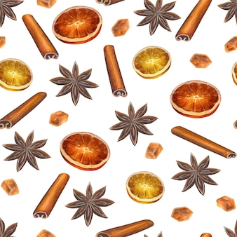 Christmas seamless pattern with anise stars, cinnamon sticks, sugar cubes and citrus slices on white surface