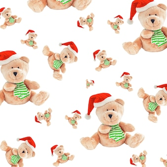 Christmas seamless pattern with cute teddy bears isolated on white