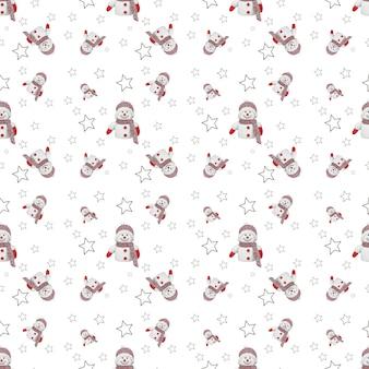 装飾的な星と雪だるまとクリスマスのシームレスなパターン