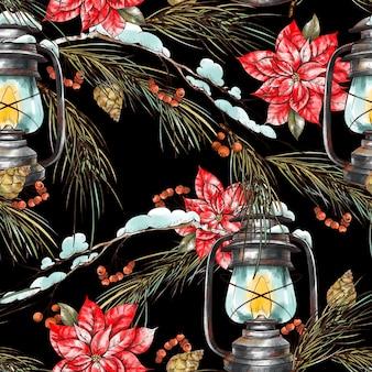Рождественский фон с еловыми ветками, деревенским фонарем и цветами пуансеттии.