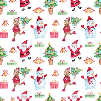 Christmas seamless pattern with watercolor cartoon characters.