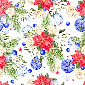 Christmas seamless pattern with watercolor christmas tree