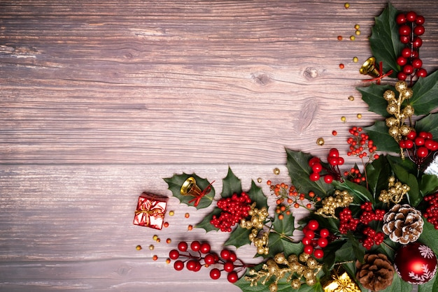 Christmas season background and happy new year on wood background