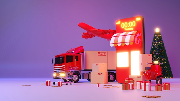 Christmas shopping online and delivery service on mobile application, transportation or food delivery., 3d rendering.