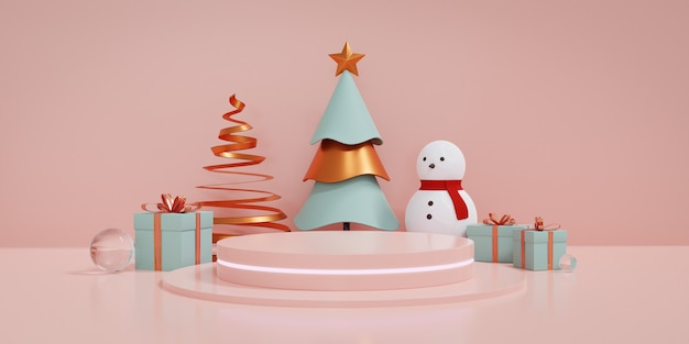Christmas showcase decorate with podium and fluorescent light, christmas tree and gift box