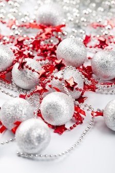 Christmas silver balls and red stars