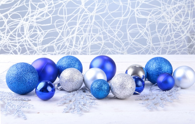 Christmas silver and blue balls isolated on silver background