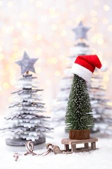 Рождественские сани с концепцией празднования праздника Premium Фотографии
