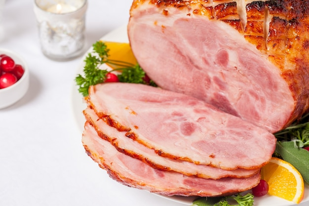 Christmas smoked roasted glazed holiday pork ham