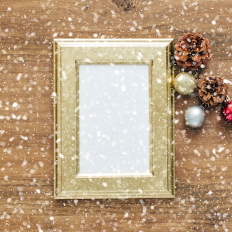 Christmas snowed background with frame.