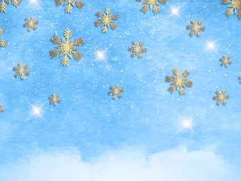 Christmas snowflakes on a watercolour texture