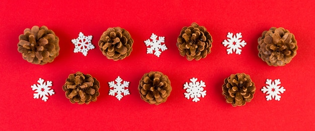Christmas snowflakes and pine cones