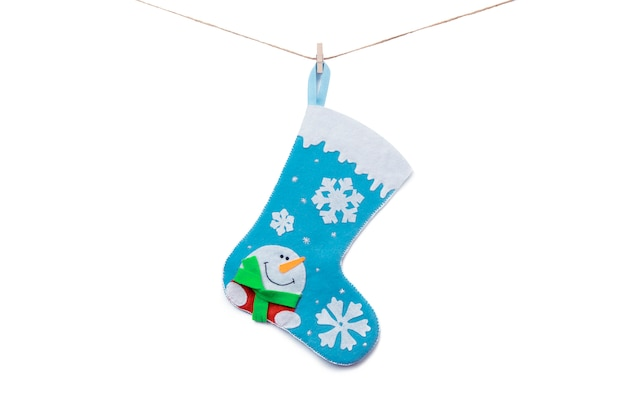 Christmas sock hanging from rope