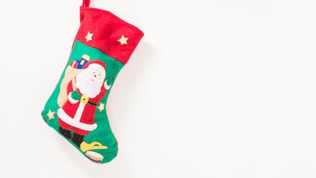 Christmas sock hanging on wall