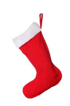 白で隔離のクリスマスの靴下